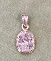 Antique Silver Pendant 925 Vintage 1980s Oval Diamante Crystal Glass pendant