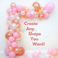 Balloon Arch Kit Garland Premium Rose Gold Pink Peach White & Confetti