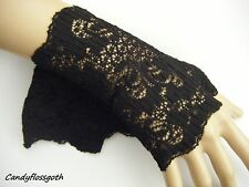 Fingerless gloves / mittens / wrist  warmers stretch quality black lace  goth