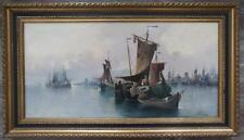Karl Kaufmann Gemälde  Seefahrt und Fischerboote signiert L Perla 1903 Leinwand