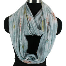 Fashion Women Butterfly Porcelain Floral Print Striped Long Shawl/Infinity Scarf