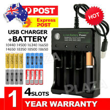 4x 3.7V 6800mAh Li-ion Rechargeable Battery + AU Smart Charger Indicator
