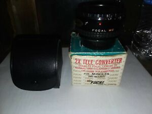 Vintage FOCAL 2X Tele-Converter MC 4-Element MINOLTA MD Film Lens Adapter w/Case