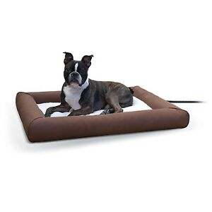 KH Mfg Outdoor Deluxe Lectro-Soft Heated Bolstered Cat Dog Pet Bed Pad Medium