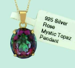 MYSTIC TOPAZ 4.97 Cts PENDANT NECKLACE .925 Silver (Rose Gold) * New With Tag *