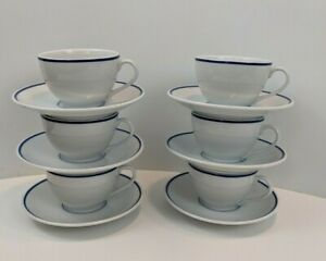 4 Pc Apilco France Bistro Porcelain Coffee 2 Cup and 2 Saucer White and Blue