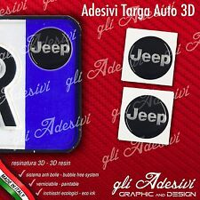 2 Adesivi Stickers bollino 3D Resinato targa Auto Moto JEEP Black