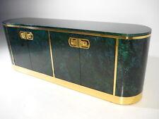 MASTERCRAFT Oval Credenza W/Malachite Laquer Finish Brass Mid Century Modern