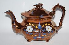 Antique Copper Lustre Ware - Large Footed Teapot with Floral Highlights