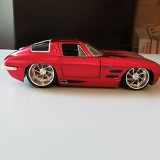 1963 CHEVY CORVETTE STINGRAY COUPE RED JADA BIGTIME MUSCLE 1:24 SCALE DIE CAST