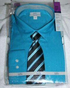 MEN'S SZ XXL(18-18-1/2, 36/37)DRESS SHIRT w/TIE by CROFT AND BARROW-NEW IN BOX