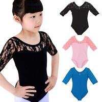 4-16Y Girl Ballet Dance Short Sleeve Skirt Dancewear Leotard Dress Top New