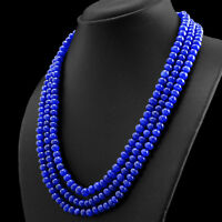 480.00 CTS EARTH MINED RICH BLUE SAPPHIRE 3 STRAND ROUND SHAPE BEADS NECKLACE
