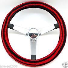 Handmade Steering Wheel Cover Stockade Red and Black Stripe