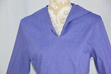 Marsh Landing Womens Petite Large PL Long Sleeve Polo Shirt V-Neck Blue Purple