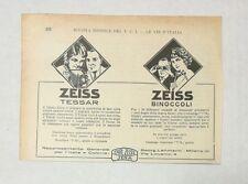Pubblicità 1924 ZEISS FOTO TESSAR PHOTO BINOCOLI advertising publicitè reklame