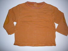Vertbaudet tolles Langarmshirt Gr. 80 / 86 orange gestreift !!