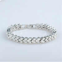 "6.5"" Round Cut Austrian Crystal Elements White Topaz 18K GP CZ Tennis Bracelet"