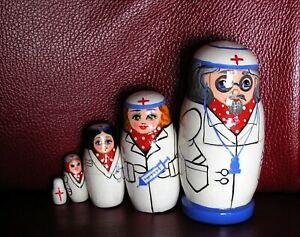 Arzt, Krankenschwester Matroschka, 5-teilig,13 cm - auch für Arztpraxis !