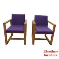 Pair Vintage Oak Cube Bentwood Lounge Club Arm Chairs Atomic Living Room