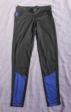 Crivit Sports Running Fitness Leggings Nuovo Nero/Blu-Taglia UK Xsmall