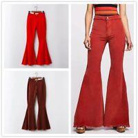 Lady Corduroy Flared Pants Bell Bottoms Trouser Vintage Retro High Waist Fashion