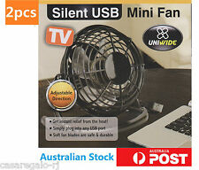 2x PC USB Cooling Desk Mini Fan Notebook Laptop Computer Portable Super Mute AU