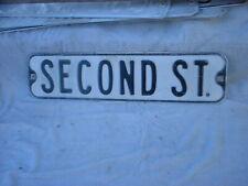 Second ST.  Vintage Street Sign Embossed 24 x 6 Black & White HEAVY