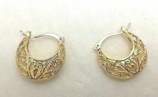 Yellow Gold Plated Filigree Snap Closure Fashion Hoop Earrings #15