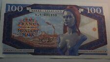 100 francs Mark 2017-Sarre France Allemagne  SPECIMEN banknote-Brigitte Bardot