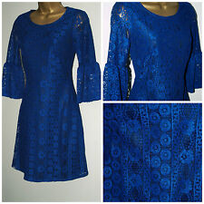 New ASOS Ladies Royal Blue Floral Lace Midi Skater Dress  Sizes: 4 - 10