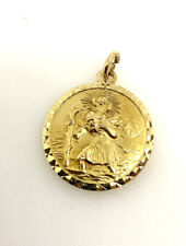 Gold St Christopher Solid 9ct Yellow Gold Solid Saint Christopher Round Pendant