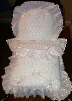 COACH BUILT PRAM BEDDING SET+ MATTRESS for Silver Cross Dolls -Broderie Anglaise