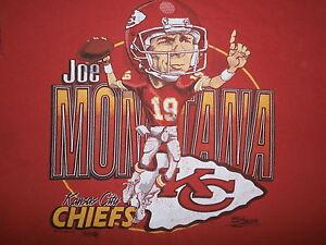 vtg JOE MONTANA CARICATURE T SHIRT Kansas City Chiefs Football 80s 90s LARGE