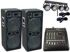 Das PA Komplett Set2 Powermixer Anlage LED Licht DJ 3Wege USB Musikanlage 3000W