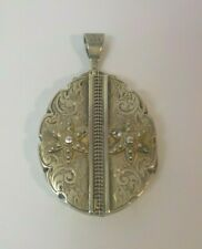 """English Victorian Period Silver 1.75"""" Oval Locket (#4), Engraved Decoration"""