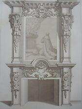 DE BROSS 1642 cheminée LOUIS XIII GRAVURE décoration ADAMS MEUBLE XIXéme