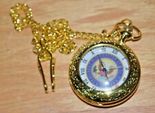 Chain and Bob-Gold Toned-Never Used Beautiful Presidential Seal Pocket Watch w/