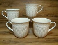 SET OF 4 - MIKASA - COUNTRY MANOR - LG 16 OZ COFFEE MUGS CUPS - FF001 WHITE