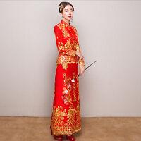 Womens grace Cheongsam Wedding Bride Dress QiPao Chinese lady embroider  Long Sz