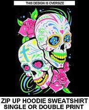 SUGAR SKULL DAY OF THE DEAD CELEBRATION CROSS ROSES ZIP HOODIE SWEATSHIRT XT105