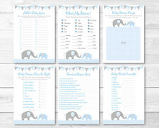 Blue Chevron Elephant Baby Shower Games Pack - 6 Printable Games