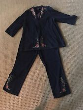 NEW SUZANNE SOMERS DENIM FLORAL TUNIC AND CAPRIS NWT WOMENS L