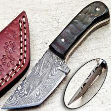 """NEW CUSTOM HANDMADE DAMASCUS 5.50"""" MINI HUNTING KNIFE RAM HORN HANDLE - UT-3690"""