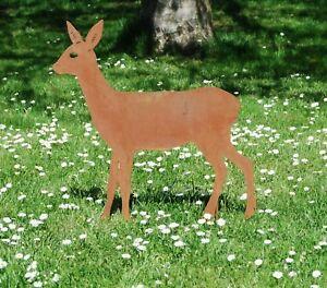 kleines Reh 60cm Gartenstecker Metall Edelrost Rost Natur Rehkitz Gartendeko