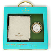 Kate Spade Gift Set - Sticker Pocket Ring Stand for Phone Gold Saffiano Leather