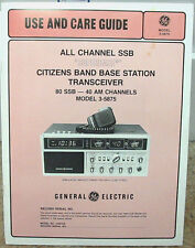 General Electric GE Superbase # 3-5875A Owners Manual and Schematic