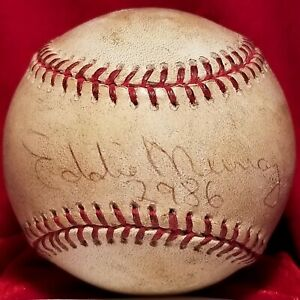 June 13, 1995 EDDIE MURRAY Signed 2986 Hit Game OAL Auto Ball WS Indians Team