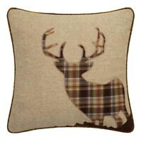 Tartan Stag LARGE 22 Inch Latte Brown Orange Cushion Cover Soft Check Fabric