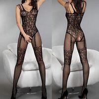 Women Black Fishnet Net Sheer Open Crotch Body Stocking Bodysuit Sexy Lingerie